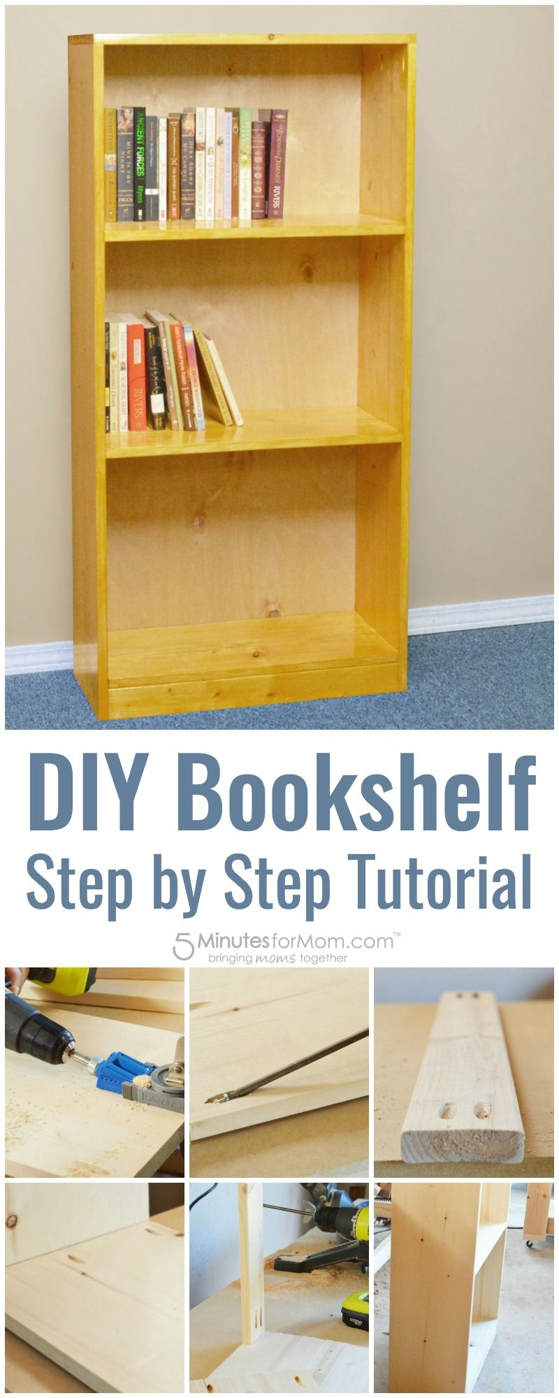 DIY Basic Bookshelf - How To Build A Bookcase For Beginners in 2018 ...