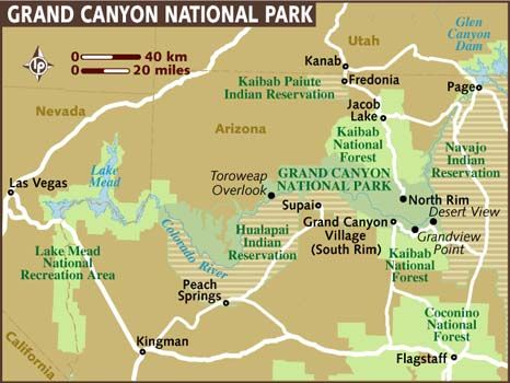 grand canyon np map Grand Canyon Map Map Of Grand Canyon View The Destination Guide grand canyon np map