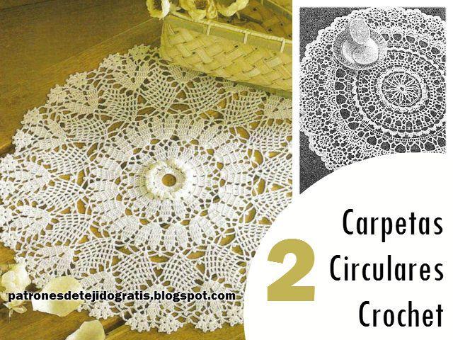 Patrones de tejido: 2 Carpetas Circulares Crochet / esquemas ...