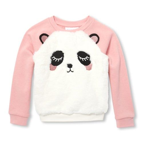 40f9bb29685c Baby And Toddler Girls Active Long Sleeve Faux Fur Panda Graphic ...