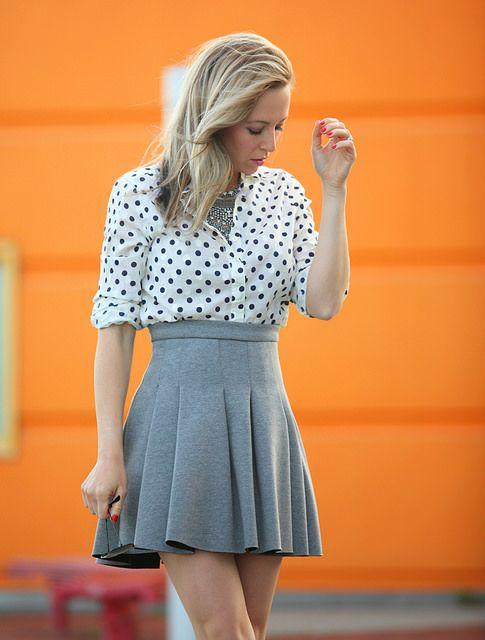 Pleated A-line skirt + polka dots