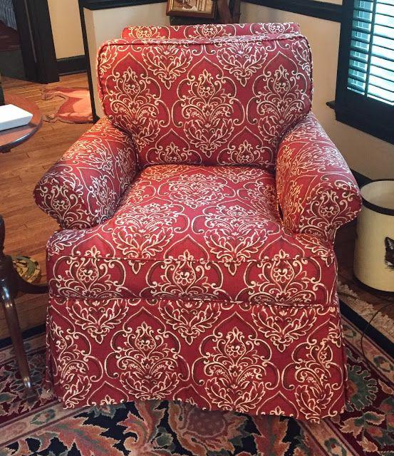 Club chair slipcovered in Duralee bandana print | Slipcovers | Pinterest