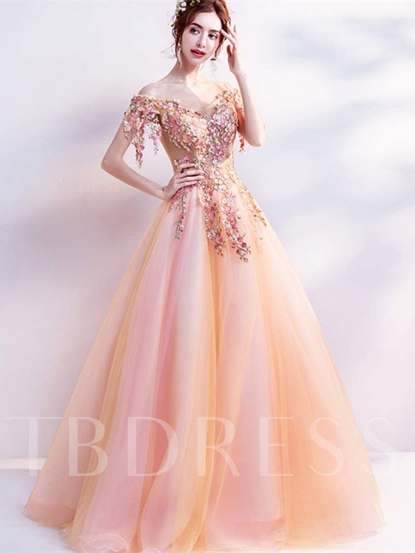 Off-the-Shoulder Flowers Pearls Quinceanera Dress  Gowns