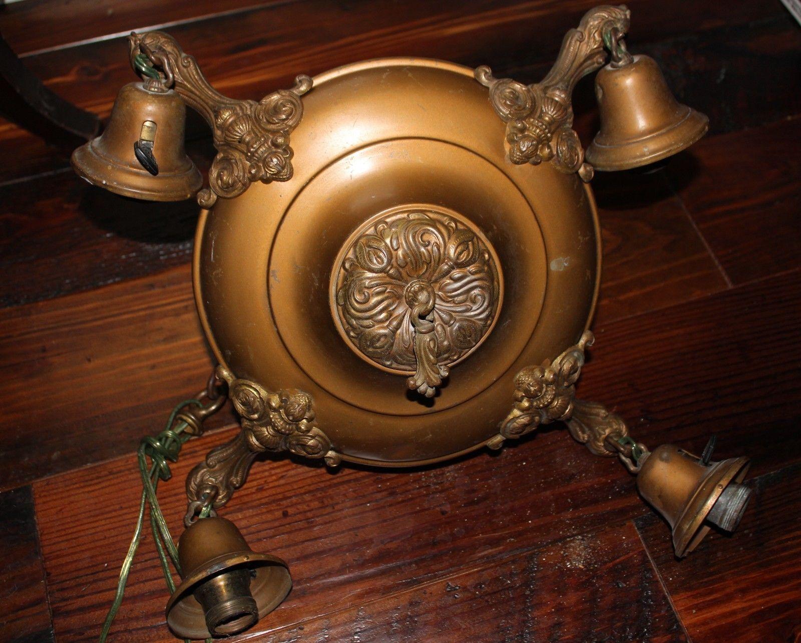 Spanish Brass Alabaster Chandelier c1950 Pendant Vintage Antique – Antique Alabaster Chandelier