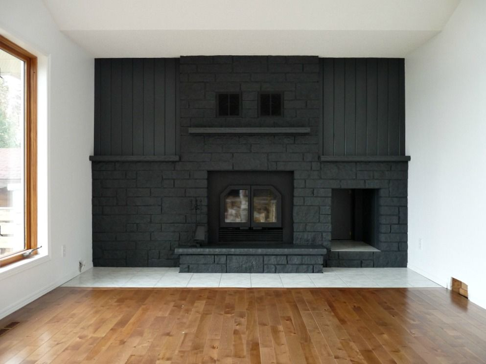 Charcoal Grey Painted Fireplace Grey Painted Fireplace Brick Fireplace Remodel Brick Fireplace Makeover
