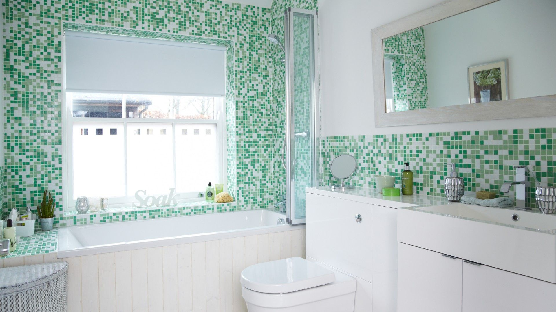 Striking green and white tiles taken from The Room Edit website in ...