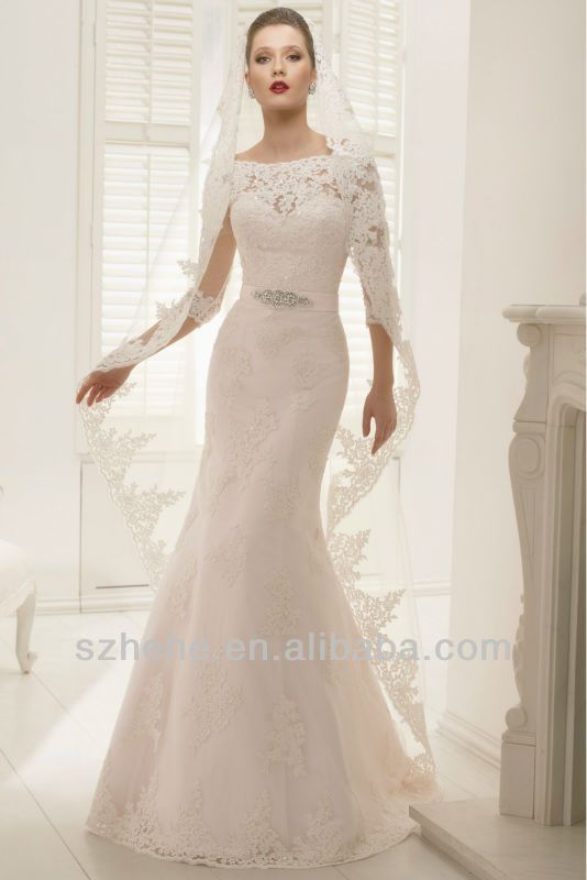 boat neck three quarter sleeve wedding dress - Google Search