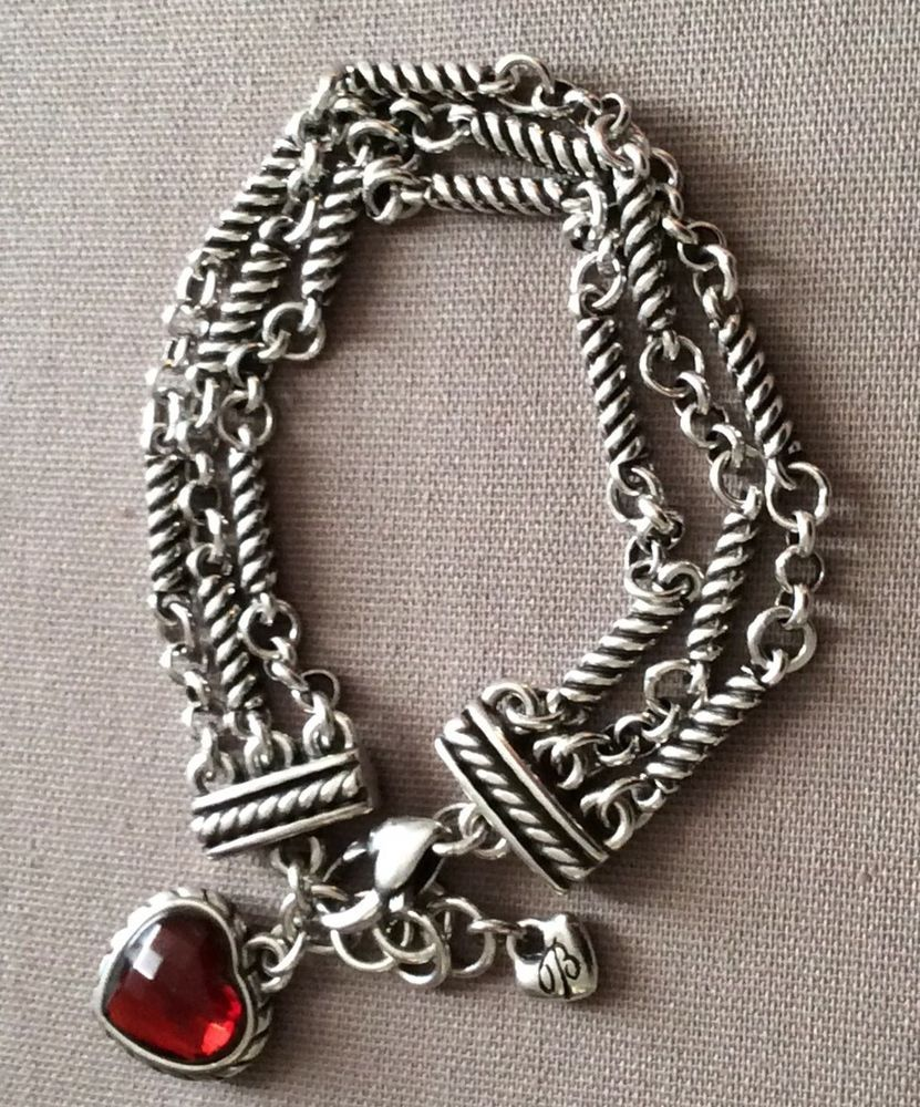 4e6b564f915b Brighton Silver Plated Red Crystal Reversible Heart Charm Multi Strand  Bracelet