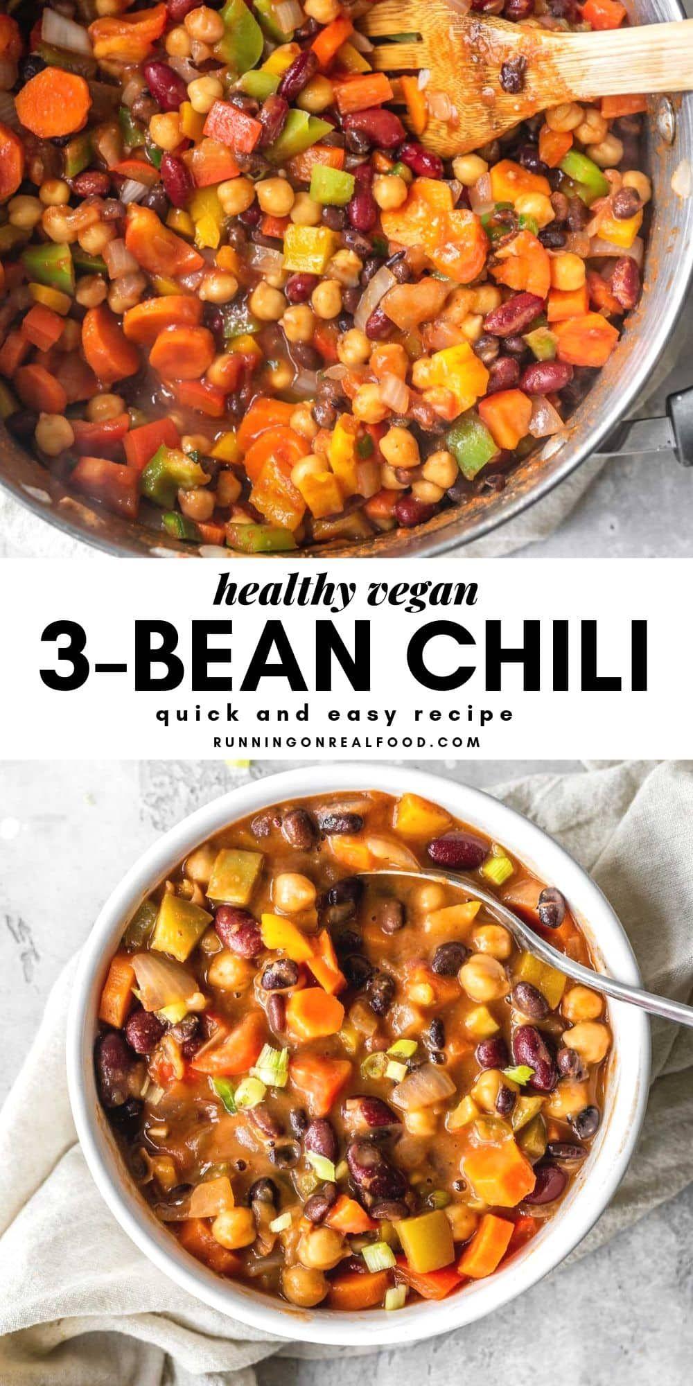 Vegan 3-Bean Chili #veggiechilirecipe