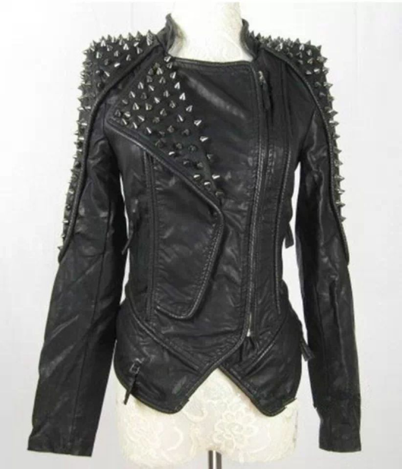 Brown Black Faux Leather Moto Punk Biker Motorcycle Zip-Up 155 mv Jacket S M