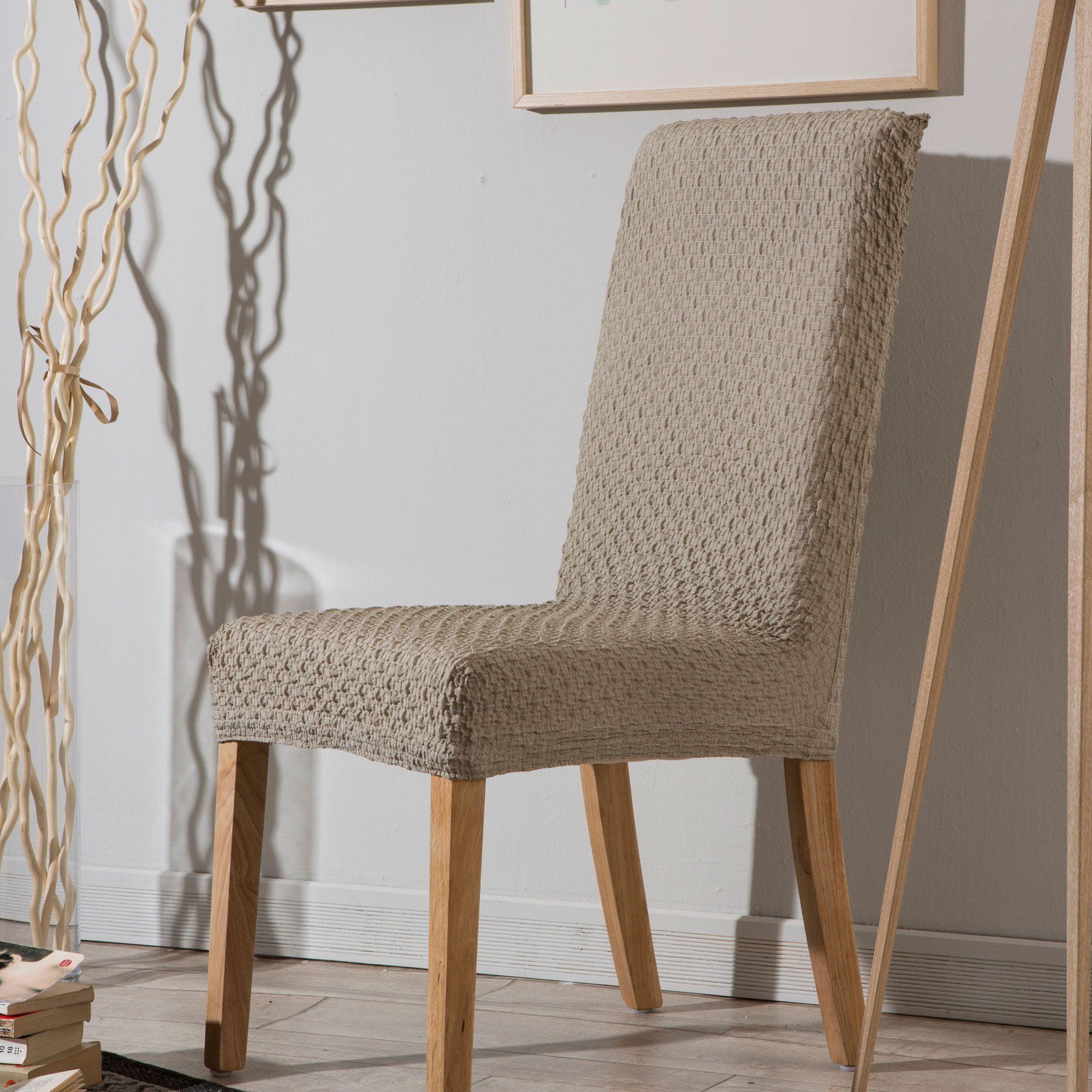 housse de chaise bi extensible unie effet gauffr beige. Black Bedroom Furniture Sets. Home Design Ideas