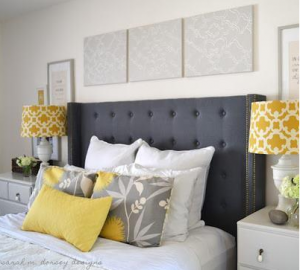Future master bedroom Love grey white and yellow And the