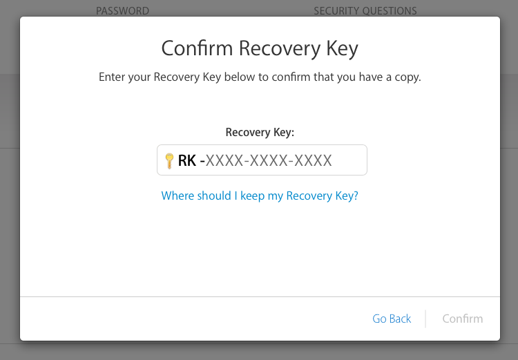 Apple Confirm Recovery Key Password Security This Or That