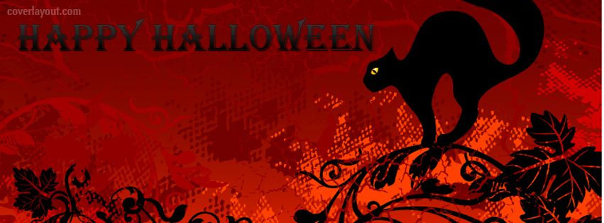 Happy Halloween Black Cat Facebook Cover CoverLayout.com ...