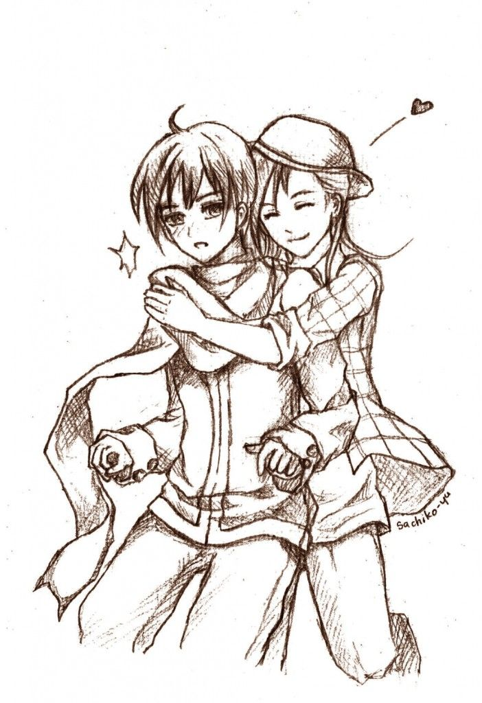 Imgs for a drawing of a girl and boy hugging