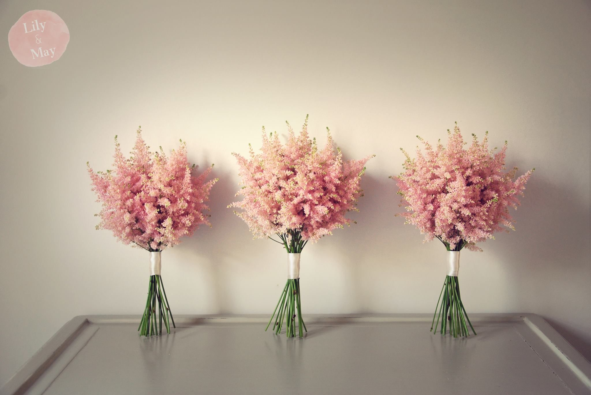 Pink Astilbe Bridesmaid Bouquets By Lily May