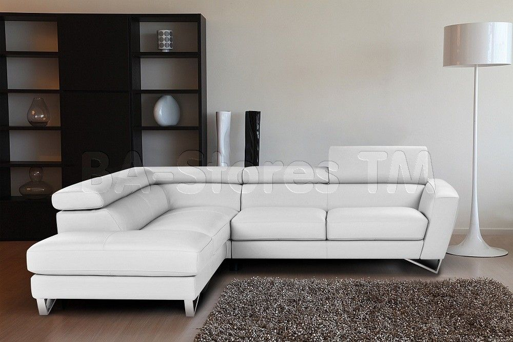 Sparta Italian Leather Sectional Sofa In White By J M Sectional