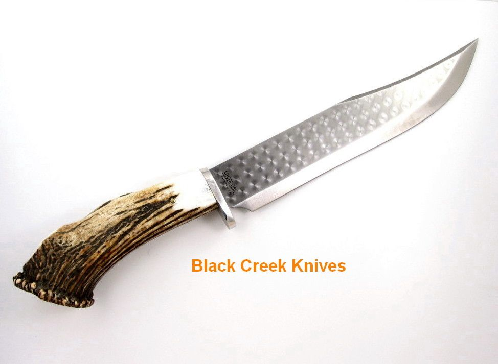 Silver Stag Large Bowie Knife 1095 Tool Steel Crown Burr Antler Handle Bowie Knife Knife Tool Steel