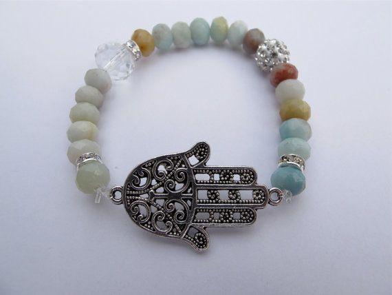 Hamsa Hand Beaded Bracelet by SienaGesmondi on Etsy, $15.00