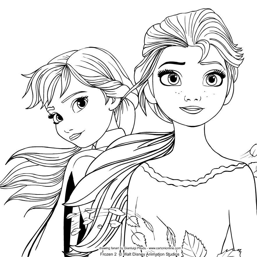 Dibujo De Elsa Y Anna De Frozen 2 Para Colorear Dibujos De Frozen Bocetos Princesa Disney Elsa Dibujo