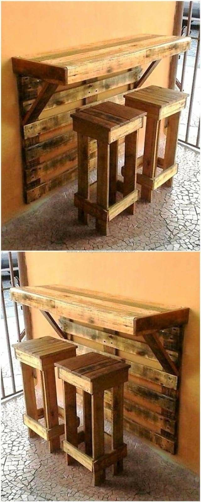 Look at this pallet project. A wall mounted bar and stools. All DIY ...