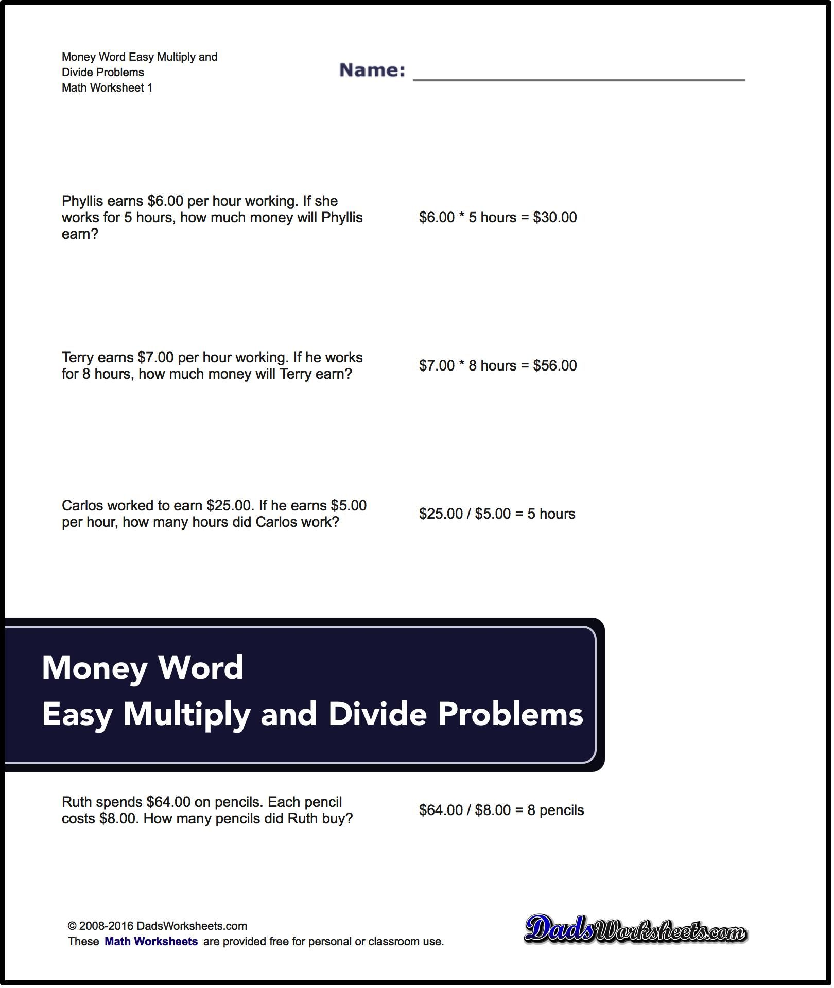 Money Word Problems Multiplication And Division