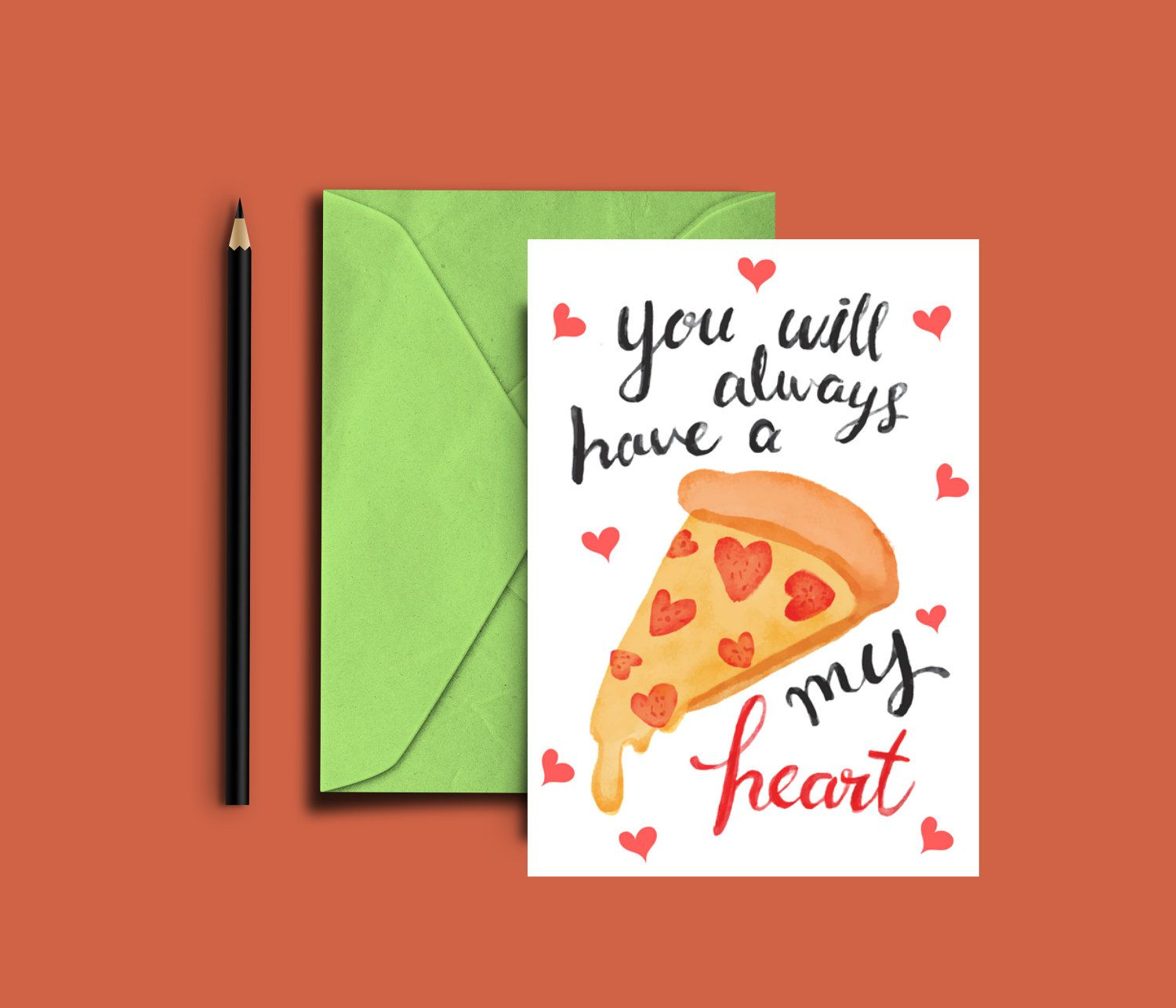 Cute Pizza Valentine Card Digital, Instant Download By WalkingMombieDesign  On Etsy