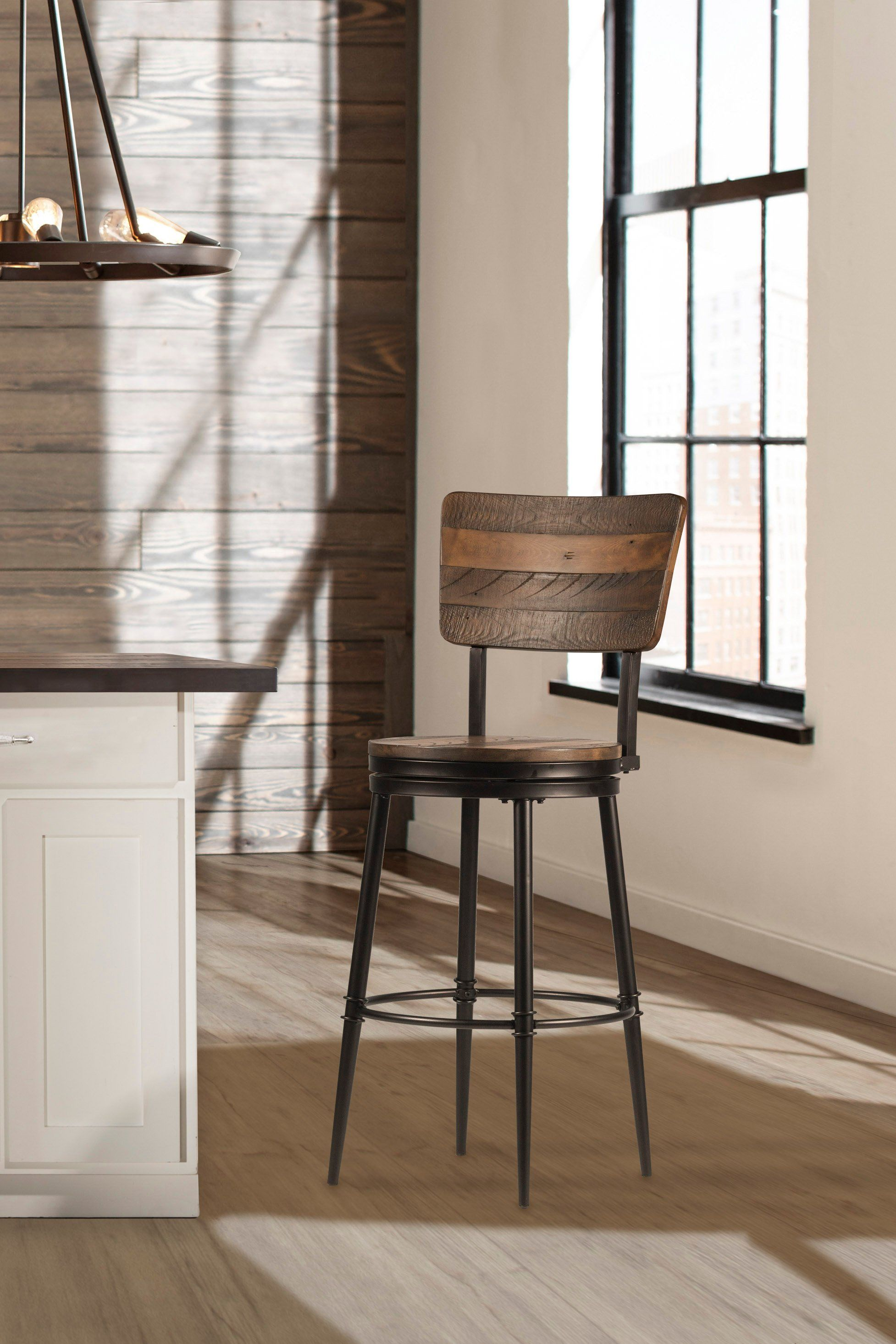 Brown and Metal 26 Inch Swivel Counter Height Stool