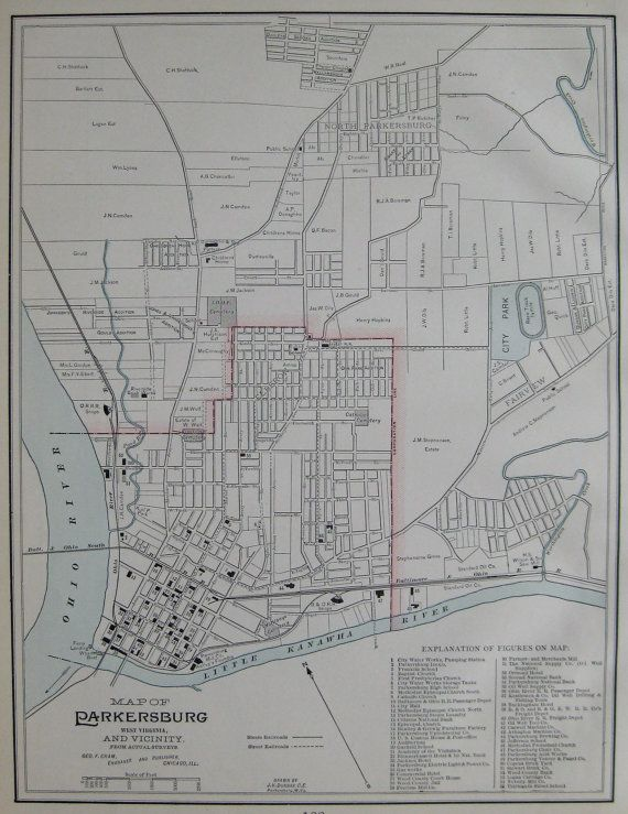 Parkersburg West Virginia Map.Parkersburg West Virginia Map Of Parkersburg 1898 By Plaindealing