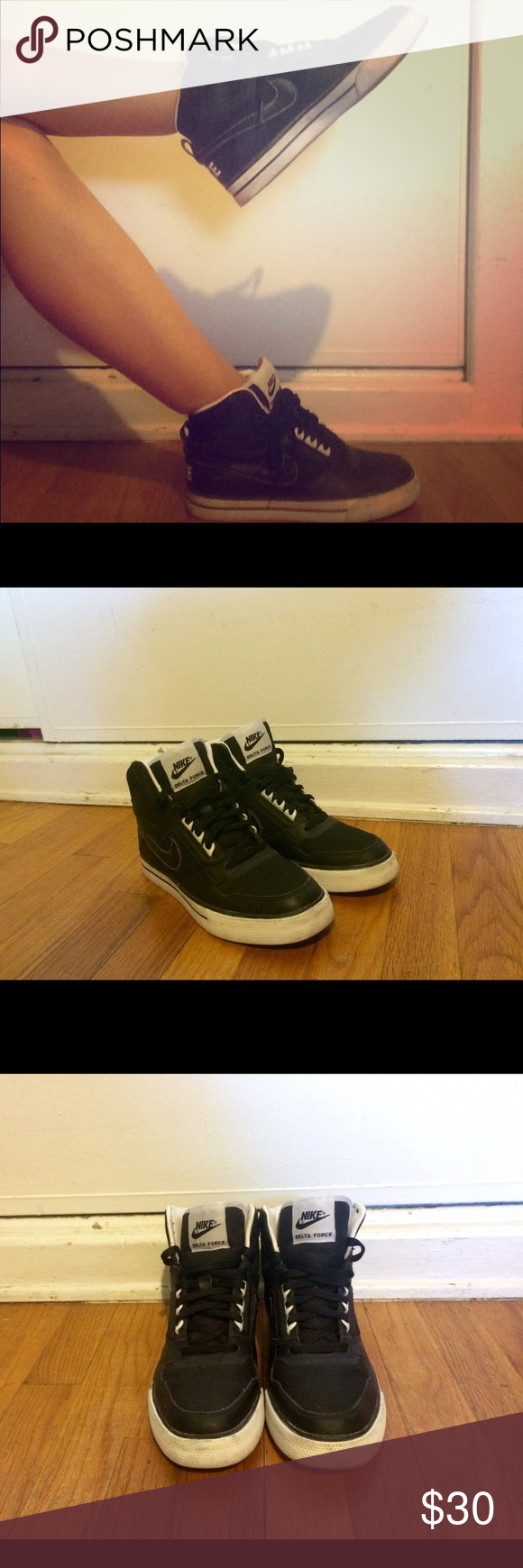 Black Nike Air Delta Force sneakers Nike Air Delta Force shoes. Women's size 7.5 tag says 6.5. Great condition, like new. Nike Shoes Sneakers