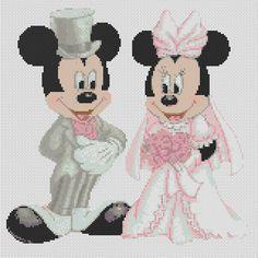 Cross stitch chart mickey mouse and minnies wedding-..FREE UK P&P.... in Crafts, Cross Stitch, Cross Stitch Charts | eBay