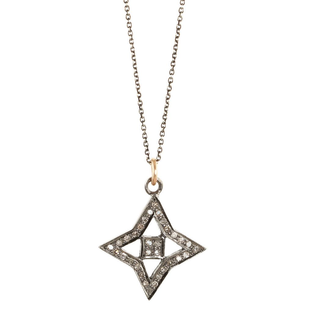 Zoe Chicco: noir pave 4-point star necklace