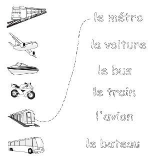 transportation french printouts for children french worksheets for children fran ais. Black Bedroom Furniture Sets. Home Design Ideas