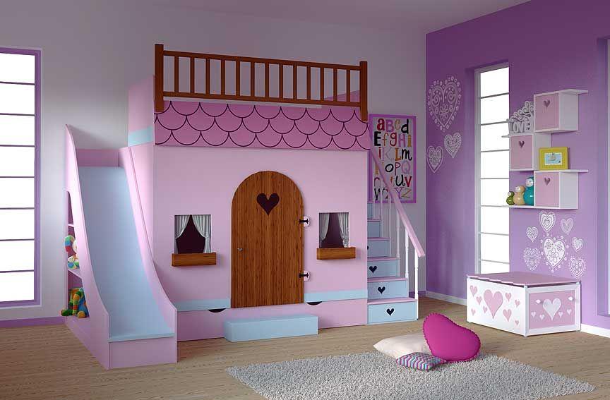 dormitorio infantil casita tobogan material dm densidad media madera de dmcajones en las escaleras
