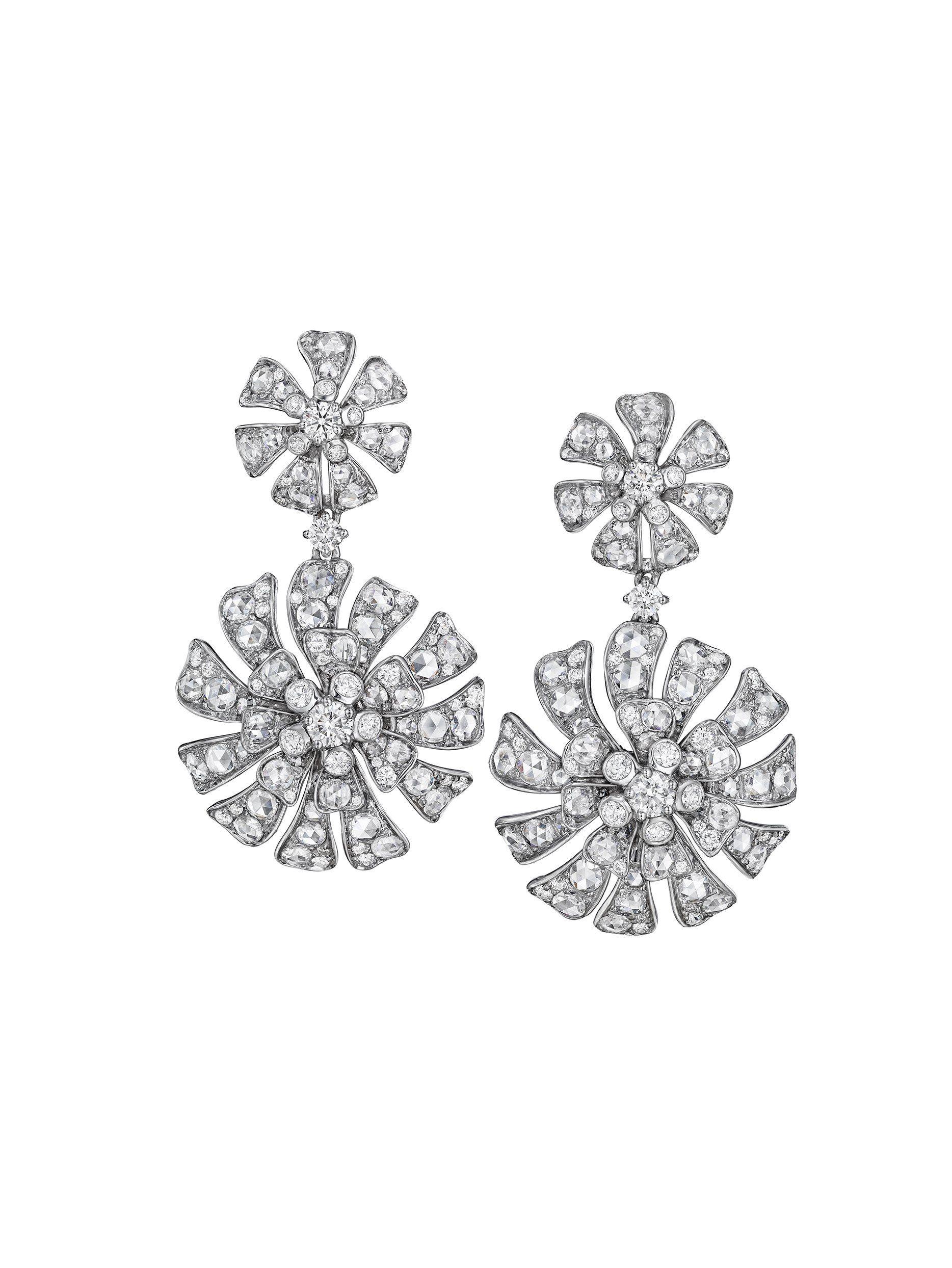 Aster Double Blossom Drop Earrings In 2020 Drop Earrings Large Earrings Earrings