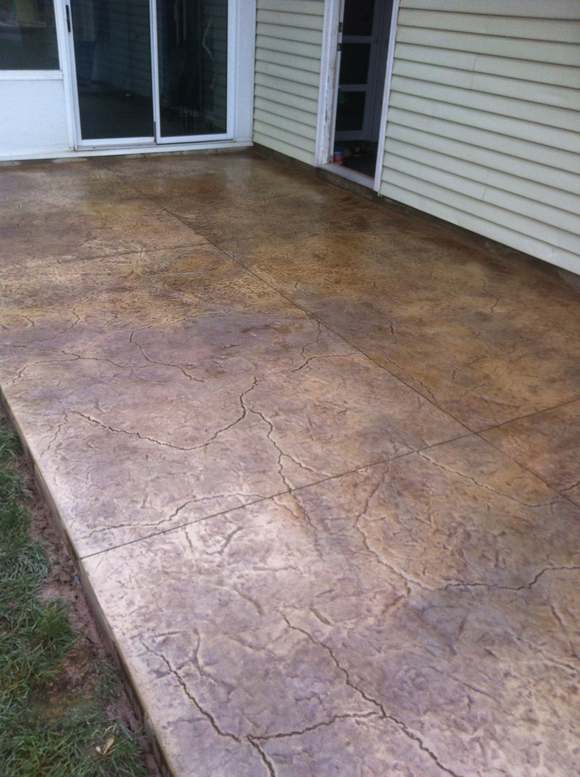 Cement Patio Designs Stained Concrete Floor Designs: Fractured Earth Stamp And Color Concrete Patio.