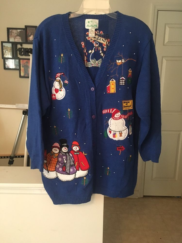 Vintage Ugly Christmas Sweater Blue The Quacker Factory 1X | eBay