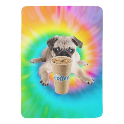 cc9a9f2cd21 Pug Puppy Ice Coffee Baby Blanket