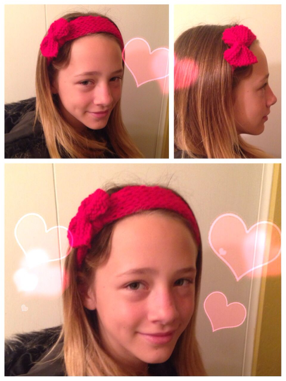 Knitted bow head band. Ribbed stitch