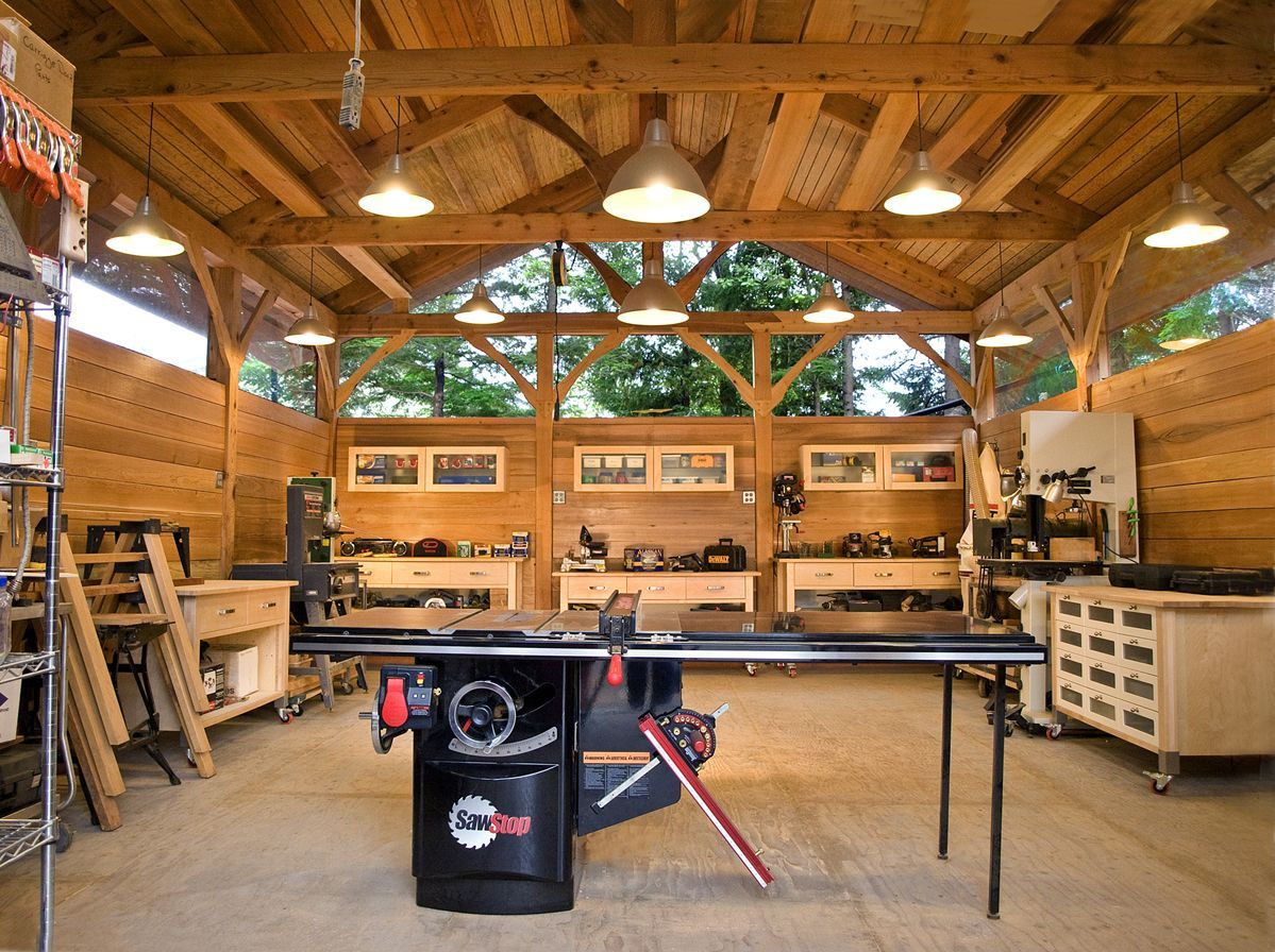 My First Timber Frame Building A 20 X 32 Workshop All Western Red Cedar Timbers Were Beach Logg Timber Frame Building Woodworking Workshop Home Workshop