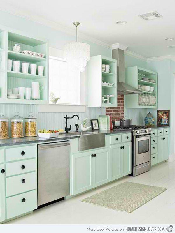 15 Pastel Green Kitchens For A Lighter Look Home Design Lover Cottage Style Kitchen Green Kitchen Designs Green Kitchen Cabinets