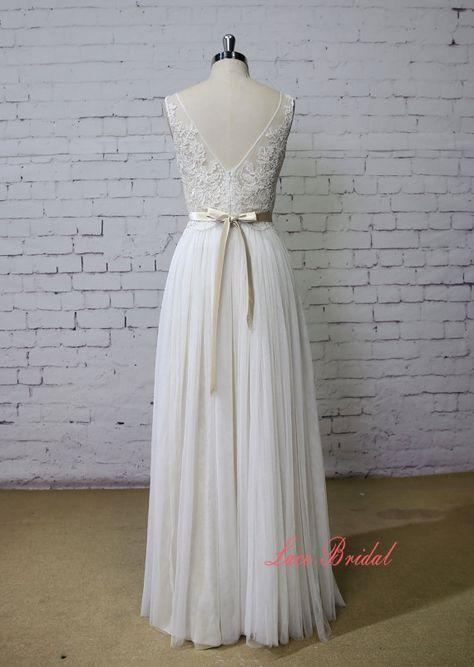 Champagne Unterlagsmatte Hochzeit Kleid Bateau Hals Kleid V-Rücken ...