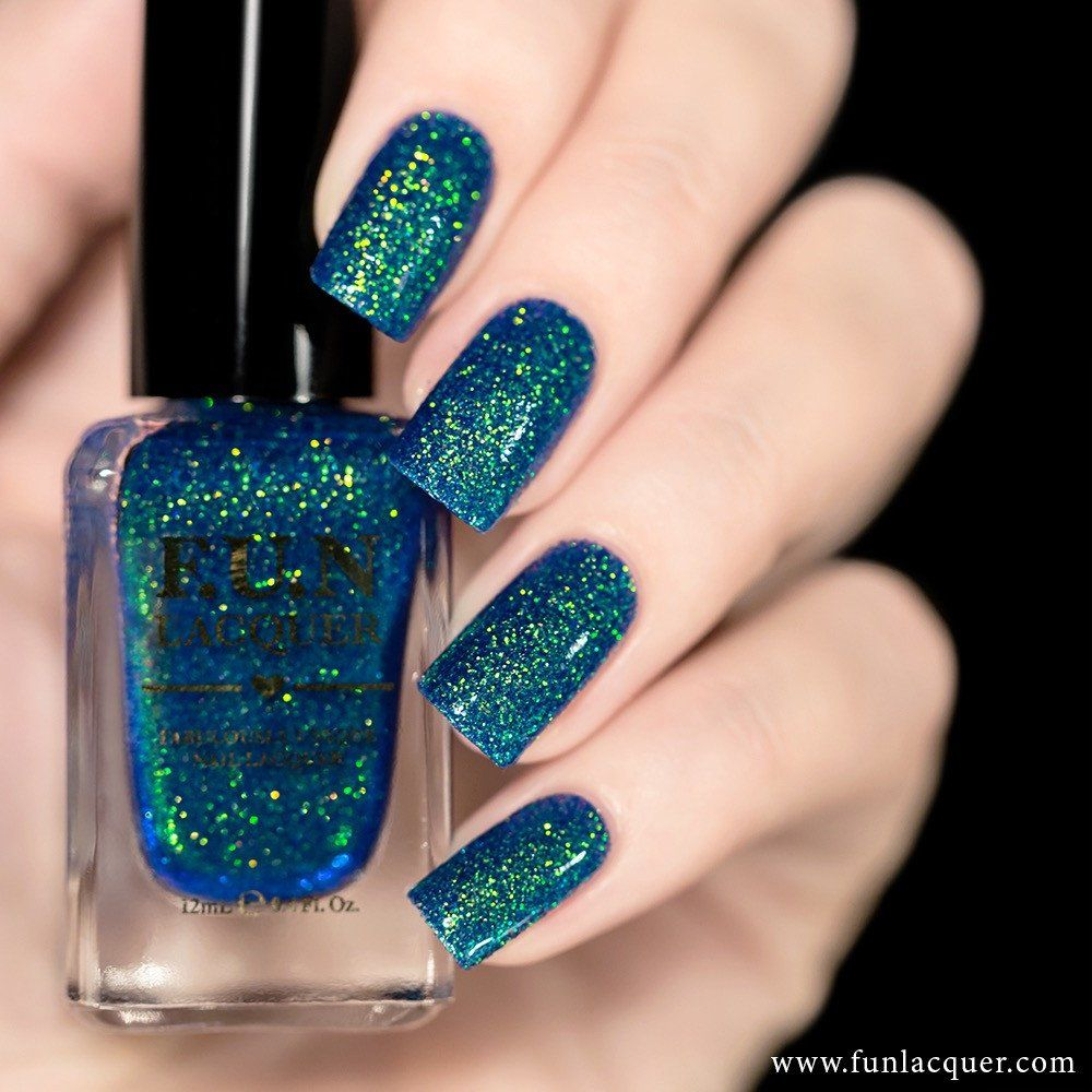 Try This Clear Base Holographic Nail Polish With Glitter Shift Between Turquoise Green Gold