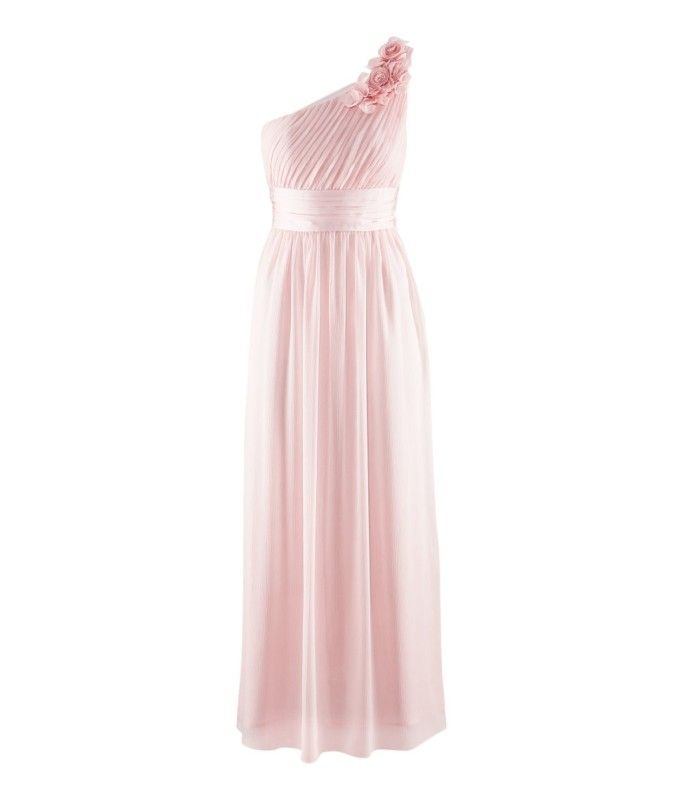 BNWT H ONE SHOULDER PASTEL PINK LONG CHIFFON MAXI DRESS SIZE UK 8 10 ...