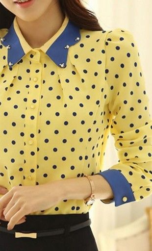 Liza quarter sleeve vintage polka dot blouse with beaded doll collar and contrast cuffs. #vintageclothing #vintagetops #womenstops #polkadots #dollcollar