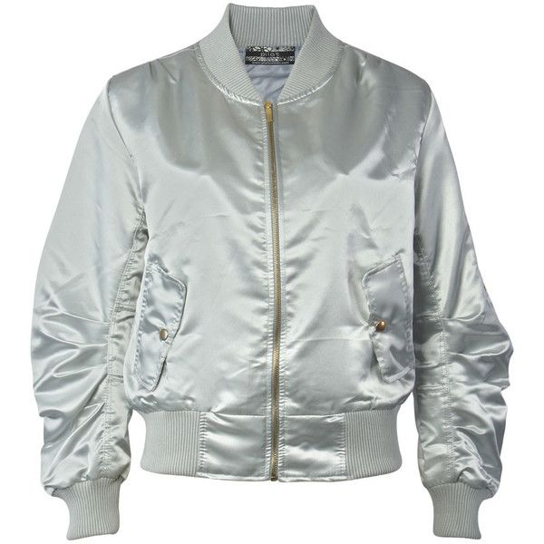 Pilot Luxe Satin Bomber Jacket (105 BRL) ❤ liked on Polyvore featuring outerwear, jackets, tops, bomber, silver, light weight jacket, satin bomber jacket, flight jacket, pilot jacket and flight bomber jacket