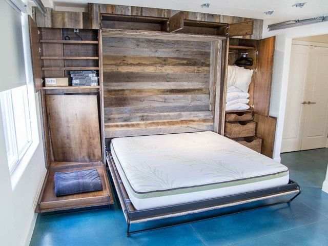 Rustic Barn Door Murphy Bed Cabinet Mixed Grey Brown Wood Wall