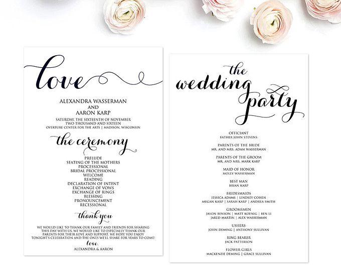 Wedding Program Template Programs Ceremony Editable Pdf Diy Wbwd3
