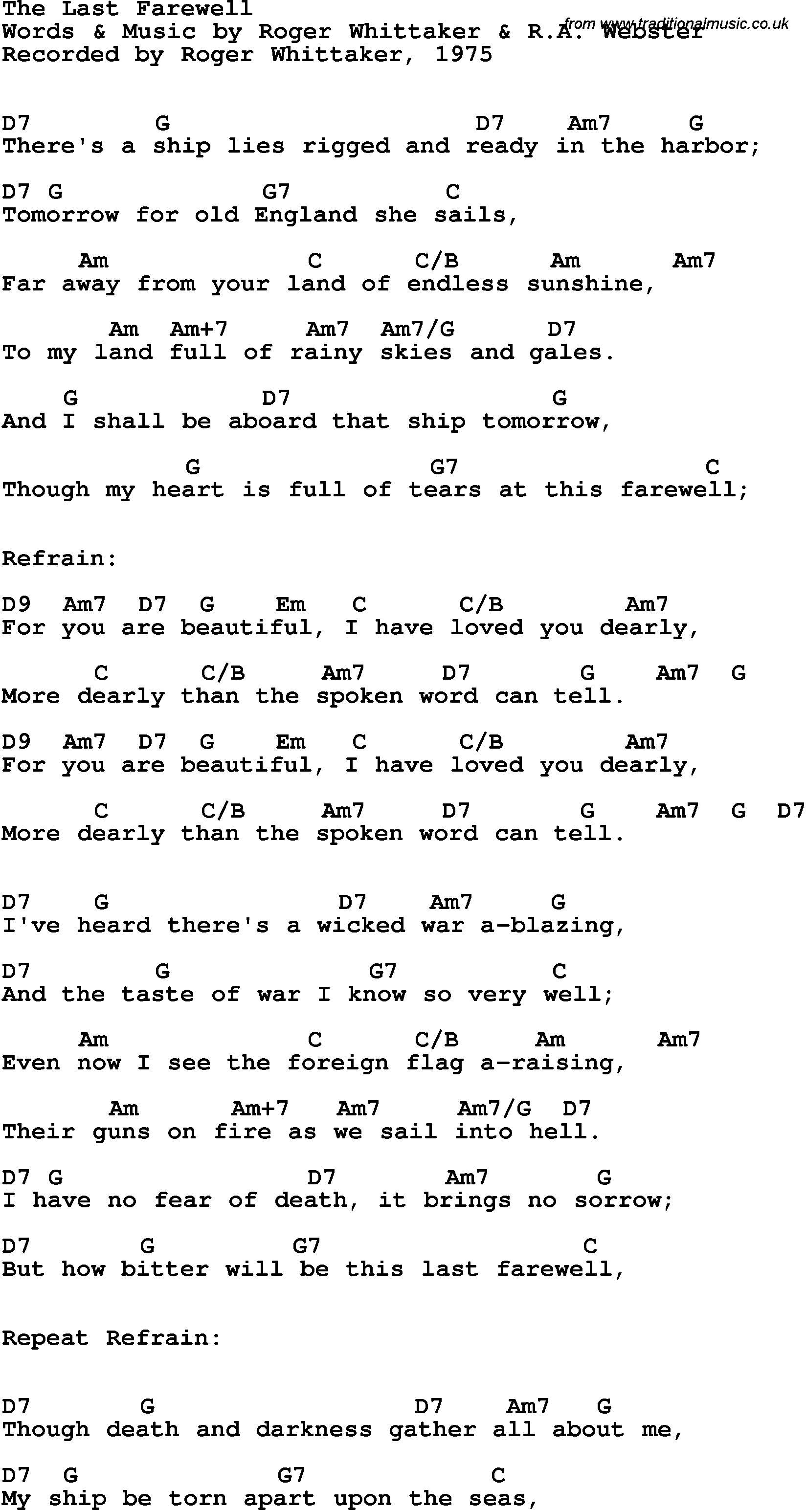 Song Lyrics With Guitar Chords For Last Farewell The Roger