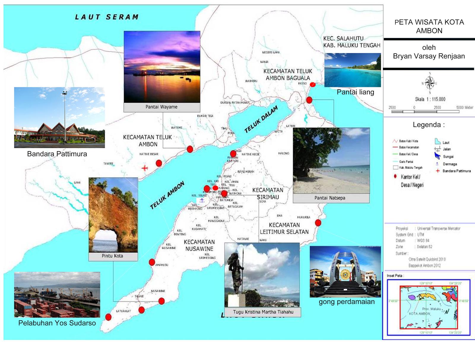Peta Objek Wisata Kota Ambon First Going Objek Kota Peta